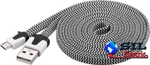 USB MICRO-B 200 Textil S/W 2.0m FLAT