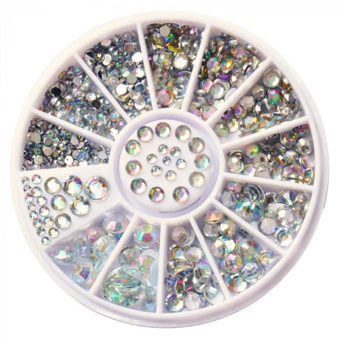 Carusel - disc pietricele decorative nail art, diverse marimi, aspect diamant