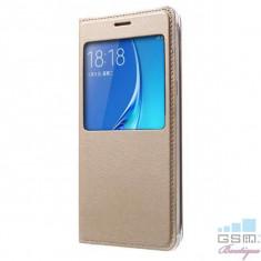 Husa Flip Cu Fereastra Samsung Galaxy J5 J510F Gold