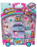 Set 8 figurine Purple Shopkins - Mini dulciuri asortate si carucior