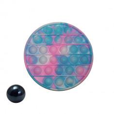 Jucarie antistres, Pop it, silicon, rotund, 12.5 cm, multicolor, bila inclusa
