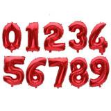 Balon, folie aluminiu, rosu, cifra 5, 46 cm