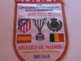 Fanion fotbal Atletico Madrid - Club Brugge, Champions Cup,1992