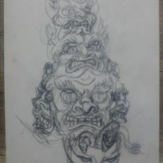 Totem// desen in creion, Marcel Chirnoaga, Arbori, Ulei, Altul