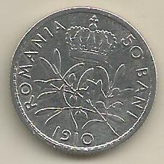 ROMANIA  CAROL I  50 BANI 1910  Argint 835 / 1000 [1]  XF ,  in cartonas