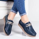 Pantofi casual piele naturala albastri Neasia-rl