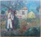 Prin ograda - semnat G.Constantin, Peisaje, Ulei, Altul