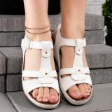 Sandale dama cu talpa ortopedica albe Solisia