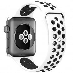 Curea pentru Apple Watch 38 mm Silicon Sport iUni Alb-Negru