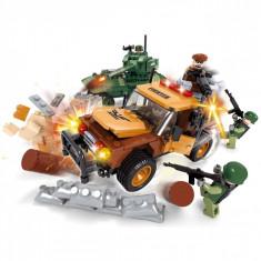 Set cuburi lego model vehicule militare,406 piese, multicolor