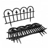 Gard de gradina decorativ, plastic, negru, set 4 buc,60x25 cm, Strend Pro