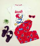 Pijama dama bumbac ieftina cu tricou alb si pantaloni rosii cu imprimeu WY
