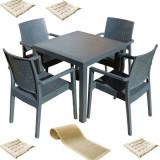 Mobilier exterior MATARANI masa patrata WOOD 90x90x75cm 4 scaune PARIS RATTAN polipropilen/fibra sticla culoare cafea,4 perne scaun,Traversa PANARI 40