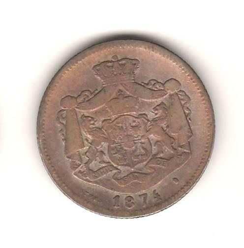 SV * Romania   1 LEU 1874  *  ARGINT .835  *  Regele Carol I  *  lacuit