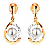 Cercei realizaţi din aur 585, lacrimă bicoloră, asimetrică, perlă albă, zirconii