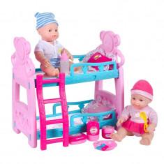 Set 2 bebelusi cu pat dublu Doll Bed, 30 cm, 3 ani+
