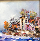 Tablou ulei (15/15 )- MAL DE APA, Flori, Impresionism