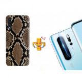 Husă Snake Skin pentru Samsung Galaxy Note 10, TPU, Maro + Folie de sticlă 9H pentru cameră Digitech Glass