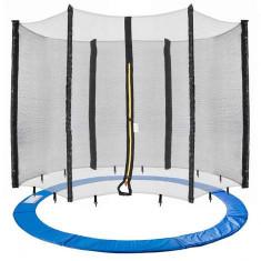 Plasa de siguranță trambulina + acoperire de margine, piese de schimb pentru protecție 305 cm, 6 stalpi