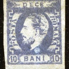 1872 , ROMANIA , CAROL I CU BARBA , 10 BANI , ALBASTRU OTEL  - NESTAMPILAT