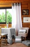 Perdea bumbac alba gri Angele Gris 135×260 cm