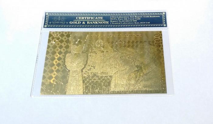 Bancnota 100 LEI Centenar Unire aur 24k certificat 2018 gold Folie protectie