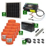Pachet gard electric cu Panou solar 3,1J putere și 5000m Fir 90Kg cu acumulator