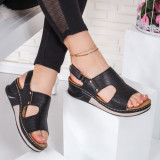 Sandale dama cu talpa ortopedica negre Velisia