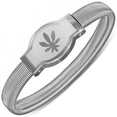 Brățară din oțel - placă rotundă cu frunză marijuana, elastică