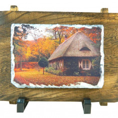 Tablou piatra naturala ardezie cu rama de lemn personalizat, dreptunghiular 22x16cm