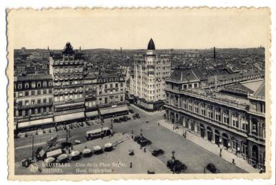 AD 1026 C. P. VECHE -BRUXELLES -COIN DE LA PLACE ROGIER -BELGIA -MASINI DE EPOCA foto
