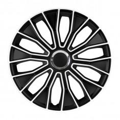 Set 4 Capace Roti Auto 14 Inch Argo Voltec PRO cu Inel Argintiu, Negru/Alb