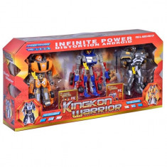 Set 3 roboti de jucarie, model transformers, multicolor, 17 cm