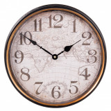 Ceas perete metal vintage model glob pamantesc Ø 31x8 cm Elegant DecoLux