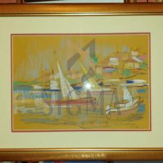 """TABLOU, AUGUSTIN COSTINESCU """" PEISAJ MARIN CU VELE """", creioane colorate, 2009"""