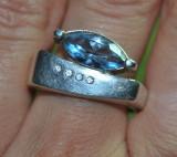 SUPERB! inel argint 925 antic cu topaz natural!!