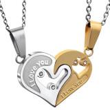 Pandantiv / Colier / Lantisor - I LOVE YOU - Pentru Cuplu - Auriu + Argintiu
