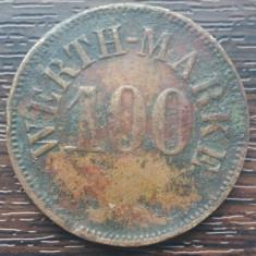 (M1118) JETON VECHI - 100 UNITATI WERTH MARKE, PERIOADA INCEPUTULUI SEC. XX