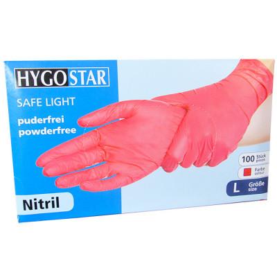 Manusi nitril Safe Light marimea L, rosii, 100 bucati/cutie, nepudrate foto