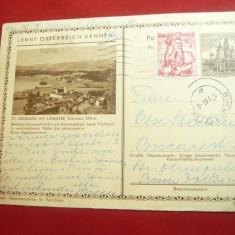 Carte Postala Karintia francat cu 1 Sh. marca fixa +0,8Sh rosu Costume Nationale