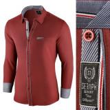 Camasa pentru barbati rosu slim fit elastica casual cu guler arezzo II