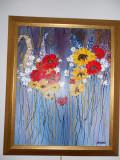 "PICTURA,TABLOU modern romanesc, decorativ,""Explozie flori de camp"", nou"