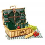Cumpara ieftin Cos de picnic, 4 persoane, verde, natur, Everestus, CP01GK, bambus, saculet de calatorie si pastila racire incluse
