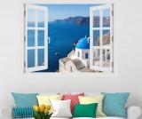 Cumpara ieftin Sticker 3D Window Santorini Oia - BeeStick, Multicolor