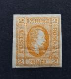 Romania 1865 A.I. Cuza  2p. portocaliu, hartie vargata ,semnat,stare buna!