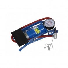 Mini pompa auto de picior cu ventil si manometru, Albastru