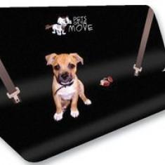 Husa auto protectie caini si pisici husa protectie bancheta spate pentru transport animale cu imprimeu Pets on the Move , impermeabila