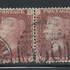 Great Britain 1864 Pair of 1p Queen Victoria (Plate 137), used AM.007