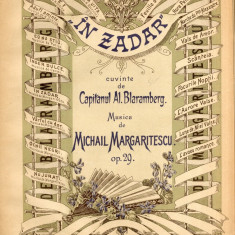 In Zadar Al.Blaremberg/ Mihail Margartiescu Op. 29 Partitura Muzica Romaneasca