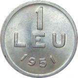 Romania, 1 leu 1951 UNC * cod 100, Aluminiu